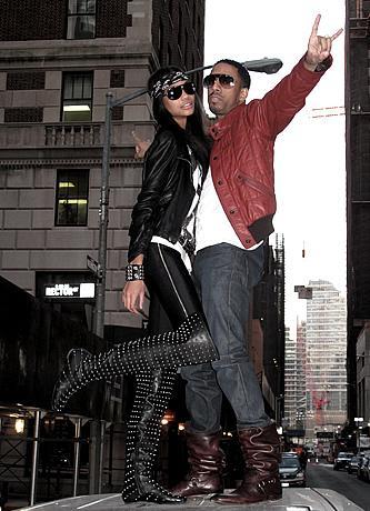 Chanel Iman in Louboutin 'Donjon' Boots