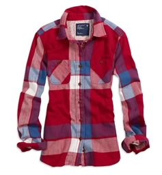 AE Shrunken Bonfire Flannel Shirt